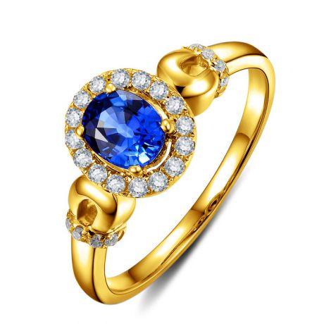 Solitaire en Saphir et Diamants - Bague en Or jaune 18 carats