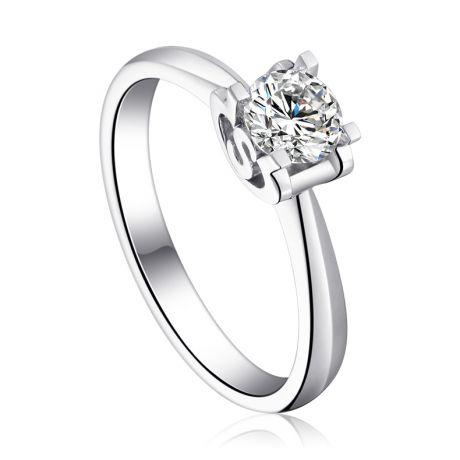Bague avec initiale S - Solitaire or blanc diamant
