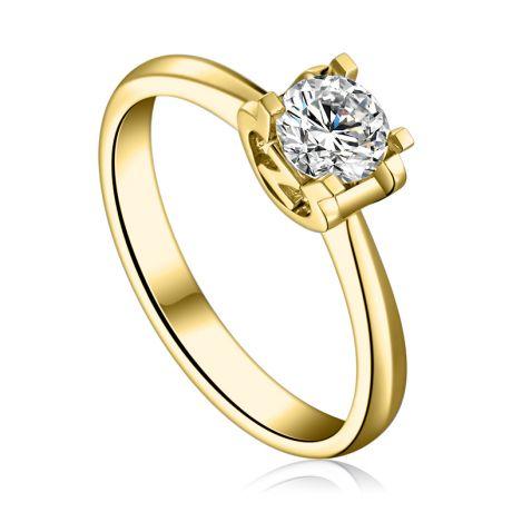 Bague lettre Z en or jaune et diamant 0.25ct
