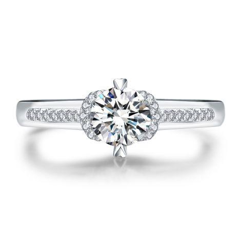 Bague solitaire Or blanc 0.45ct. Diamant central 0.35 carat