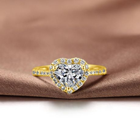 Bague cœur solitaire - Or jaune 18 carats - Diamants
