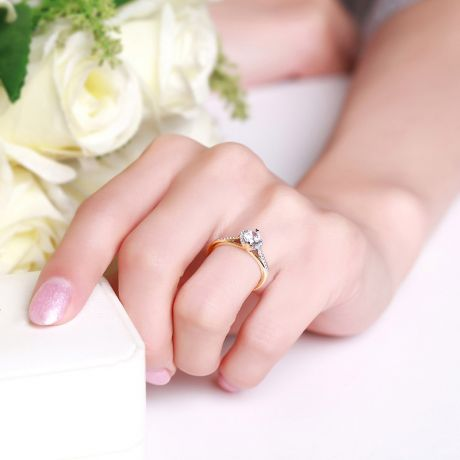 Bague solitaire Or jaune 0.45 ct. Diamant central 0.35 carat