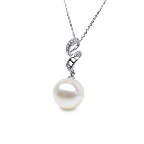 Pendentif tortillon serpentin - Or blanc, diamants - Perle blanche