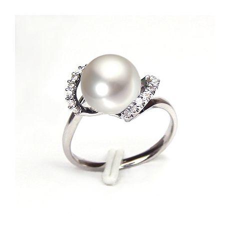 Bague en perle de culture - Perle de rivière - Or blanc, diamants