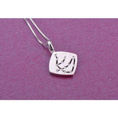 Pendentif signe du zodiaque - Constellation verseau - Or blanc