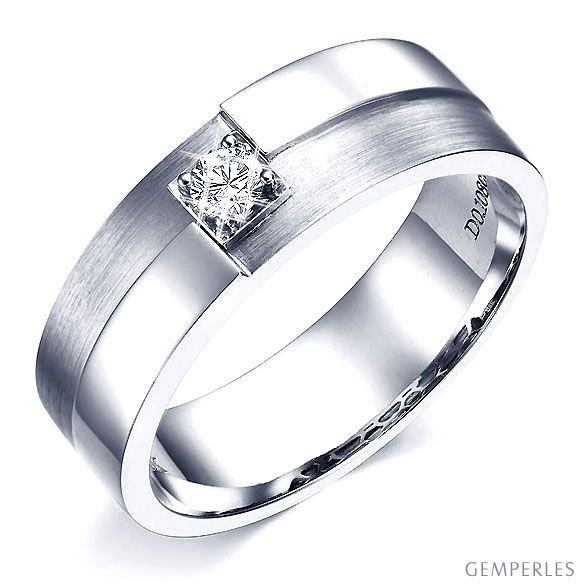 Bague or blanc homme