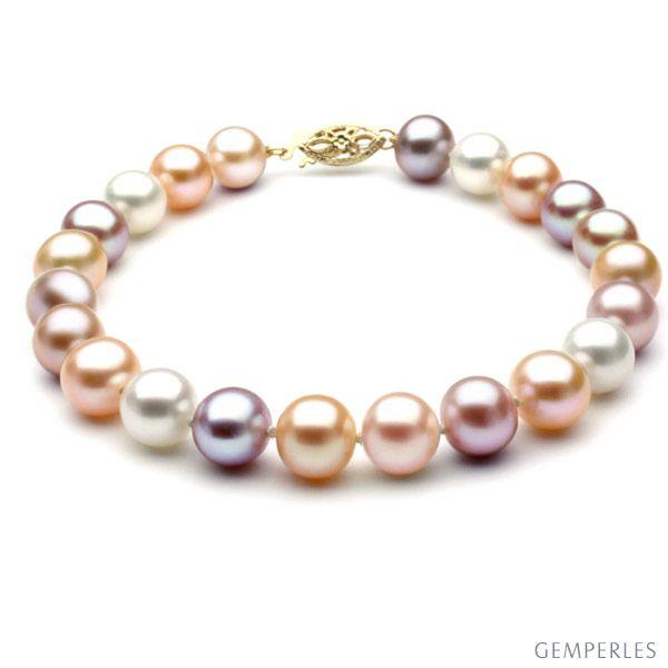 Bracelet Perles De Chine Perles Multicolores D Eau Douce 6 5 7mm