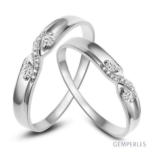 Complètement et trop extrême Alliances mariage diamants - En or blanc - Pour homme et femme #YX_48