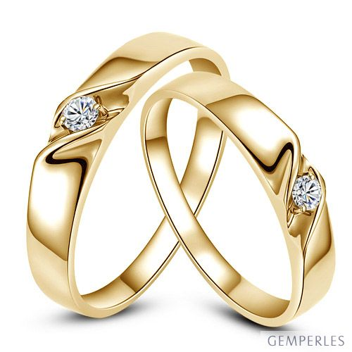 Alliances Mariage En Or Alliances Duo Or Jaune 18 Carats Diamant
