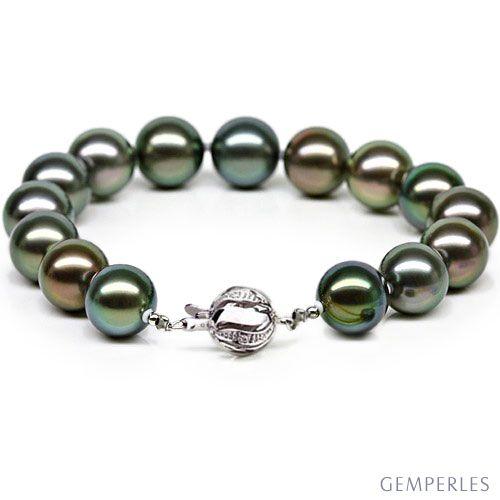 Bracelet perles de Tahiti multicolores , 9/10mm , Fermoir en or , 2