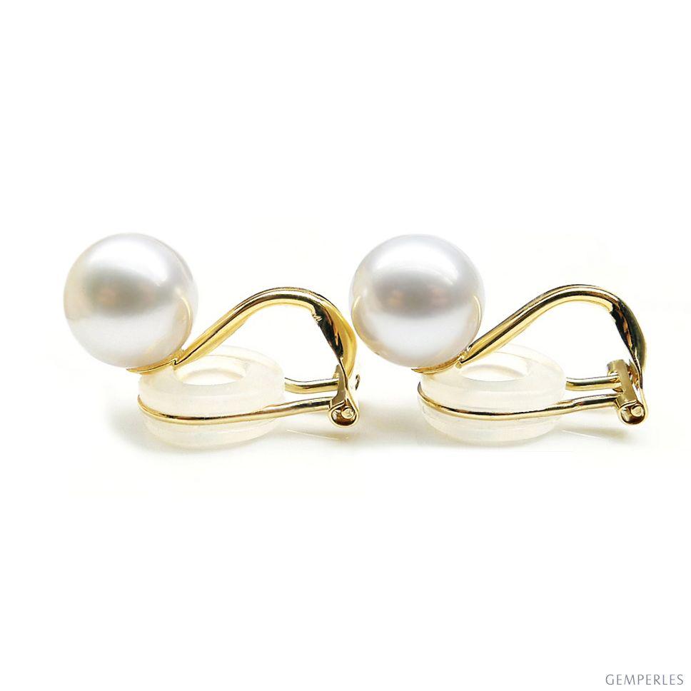 Boucles D Oreilles Clip Or Jaune Et Perles De Culture