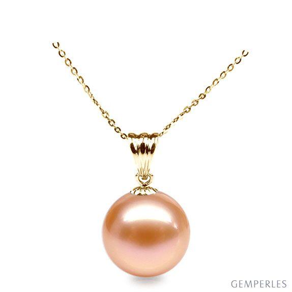 a9bc92fdb7405 Collier une perle rose - Pendentif or jaune