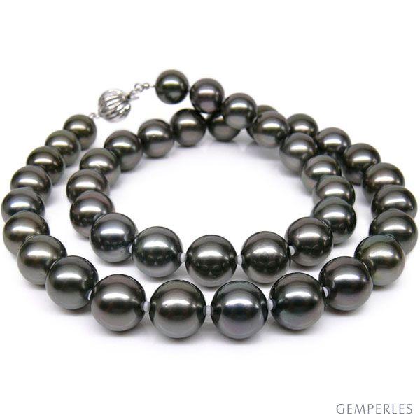 Collier Perles De Tahiti Noires Perle De Culture Polynesie 9 10mm