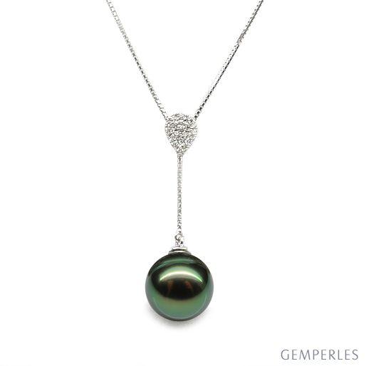 91cfa31586fb3 Collier pendentif or blanc et perle de Tahiti - Pendant nacré