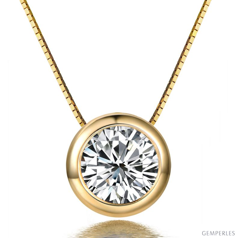 cbbfc53ccbab9 Pendentif solitaire en diamant 0.25ct - Collier or jaune 750 1000