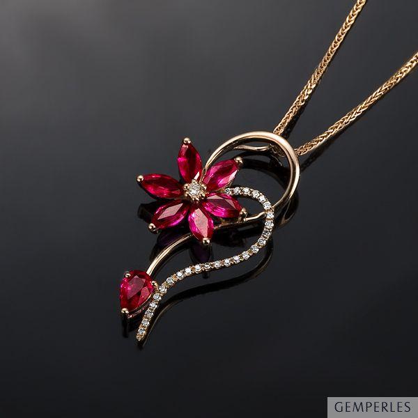 Pendentif Fleur En Or Rose Rubis Et Diamants Sertis