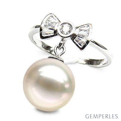 Bague noeud papillon - Or blanc, diamants, perle de culture