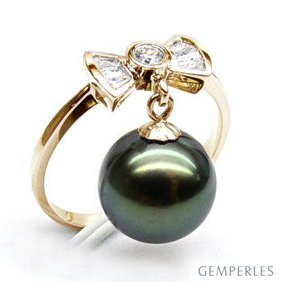 Bague noeud papillon - Perle de Tahiti mobile - Or jaune, diamants