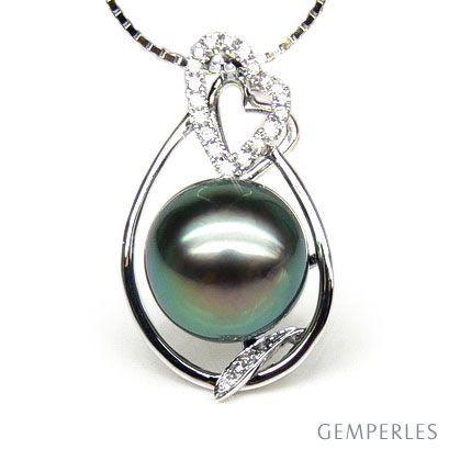 Pendentif accents romantiques - Perle de Tahiti, or blanc, diamants