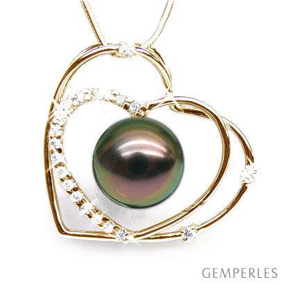 Pendentif double coeur - Perle Tahiti paon aubergine - Or jaune, diamants