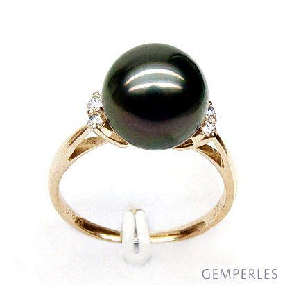Bague solitaire perle de Tahiti - Or jaune, diamants sertis grains
