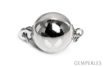 Bolla : Fermoir boule lisse 7mm, Or blanc 14 carats. Fermoir contemporain & moderne