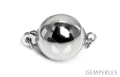Bolla : Fermoir boule lisse 7mm, Or blanc 14 carats. Fermoir contemporain & moderne