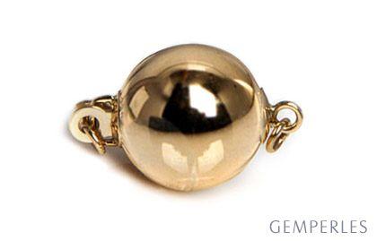 Bolla : Fermoir boule lisse 7mm, Or jaune 14 carats. Fermoir moderne & contemporain