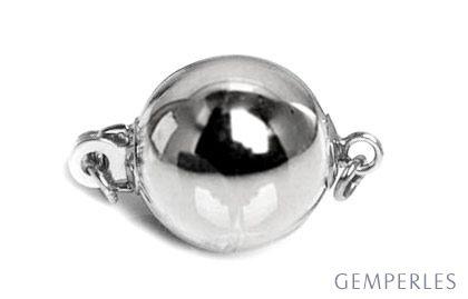 Fermoir Bolla style contemporain. Type Boule lisse, diamètre 8mm. Or blanc 14 carats