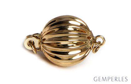 Boccino : Fermoir classique. Forme boule striée. Or jaune 14cts, 7mm