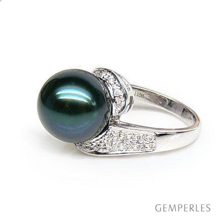 Bague Santa Luzia - Perle de Tahiti noire émeraude - Or blanc, diamants