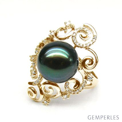 Bague Mindanao - Perle de Tahiti - Or jaune, diamants sertis griffes
