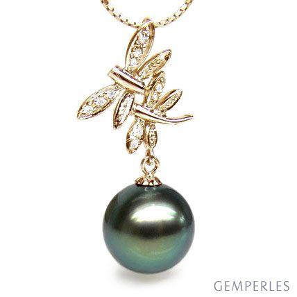 Pendentif libellules - Couple volant - Perle Tahiti, or jaune, diamants