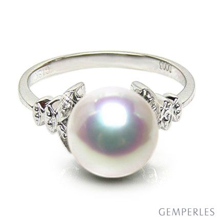 Bague or perle du Japon - Perle Akoya blanche - Or blanc, diamants