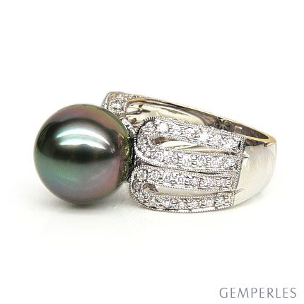 Bague de joaillerie - Luxe - Perle de Tahiti - Or blanc, diamants