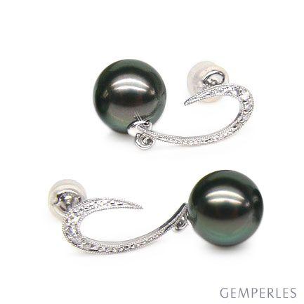Boucles oreilles - Dormeuses contemporaines - Perles de Tahiti, Or blanc