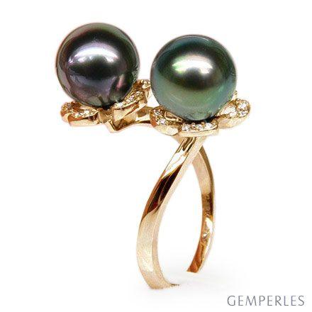 Bague You and Me - Perles Tahiti vertes, aubergines - Or jaune, diamants