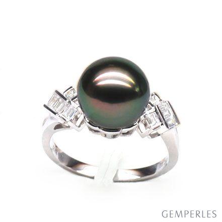 Bague géométrique or blanc - Perle de Tahiti - Diamants princesses