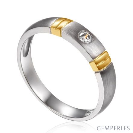 Alliance deux ors - Alliance diamant or blanc et jaune - Femme