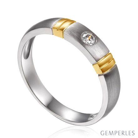 Alliance deux ors - Alliance diamant or blanc et jaune - Homme