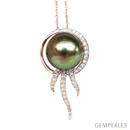 Pendentif océan - Perle de Tahiti - Or blanc, diamants
