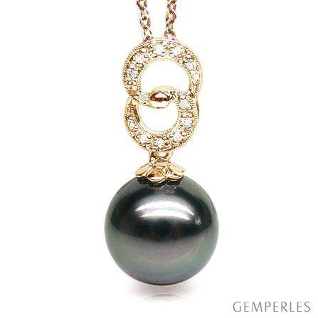 Pendentif élégance - anneaux 8 - Perle de Tahiti - Or jaune, diamants