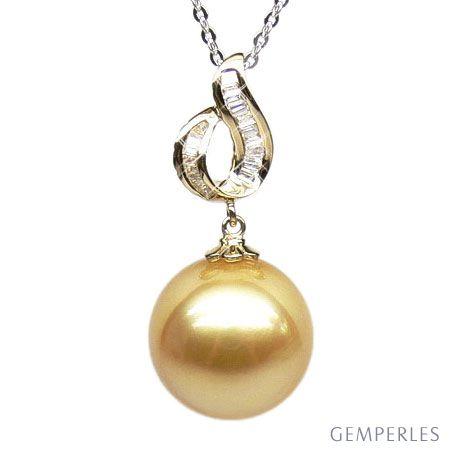 Pendentif contemporain - Perle d'Australie dorée - Or jaune, diamants