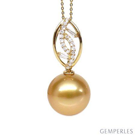 Pendentif feuilles d'or diamantées - Perle d'Australie dorée