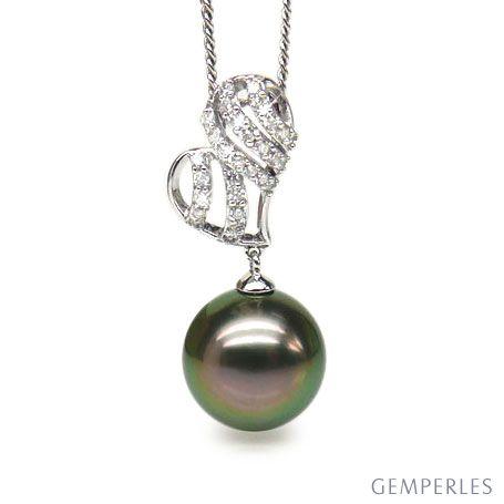Pendentif stylisé - Coeur - Perle de Tahiti - Or blanc, diamants