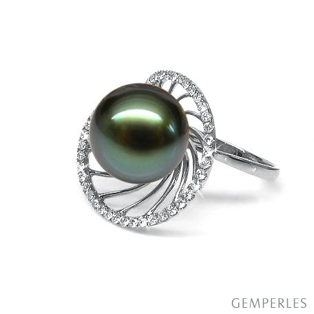 Bague or blanc de forme elliptique - Perle de Tahiti, diamants