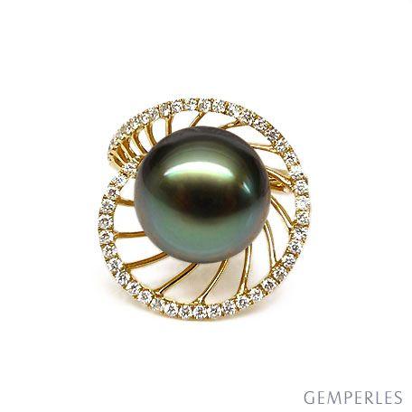 Bague or jaune de forme elliptique - Perle de Tahiti, diamants