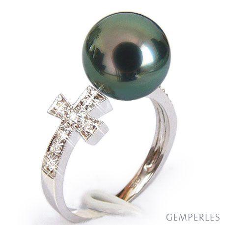 Bague croix romaine - Perle de Tahiti noire paon - Or blanc, diamants