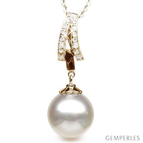 Pendentif or et diamants - Perle d'Australie blanche - or jaune