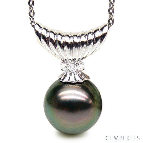 Pendentif Pirae - Perle de Tahiti noire, paon - Or blanc, diamants